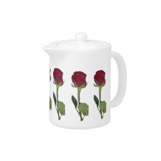 Red Roses Tea Pot
