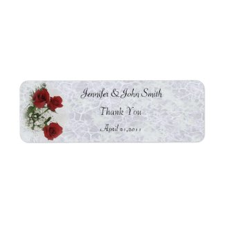 Red Roses Thank You Wedding Label label