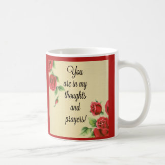Red Roses Thoughts & Prayers Sentiment Coffee Mug