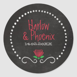Red Roses Typography Chalkboard Wedding Classic Round Sticker