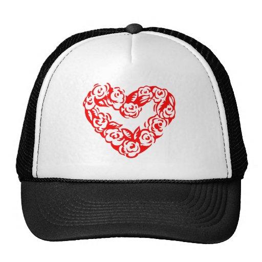 Red Roses Valentine Love Heart Trucker Hats