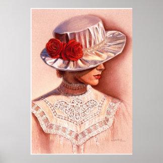 Red Roses Victorian Lady Elegant Decor Art Poster