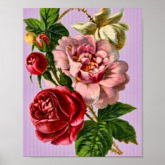 Red Roses Vintage Floral Poster
