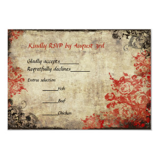 "Red Roses Vintage Wedding RSVP Invitation 3.5"" X 5"" Invitation Card"