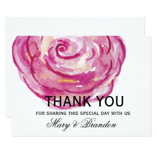 Red Roses Watercolor Floral Wedding Thank You Card