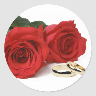 Red Roses & Wedding Bands Sticker
