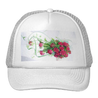 Red Roses Wedding Bouquet Trucker Hat
