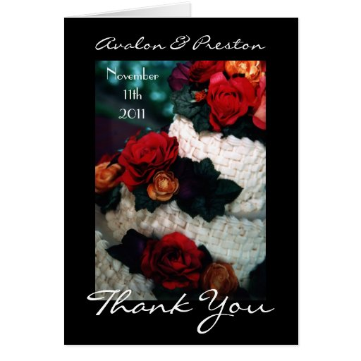 wedding cake thank you notes roses wedding cake thank you note card zazzle 26246