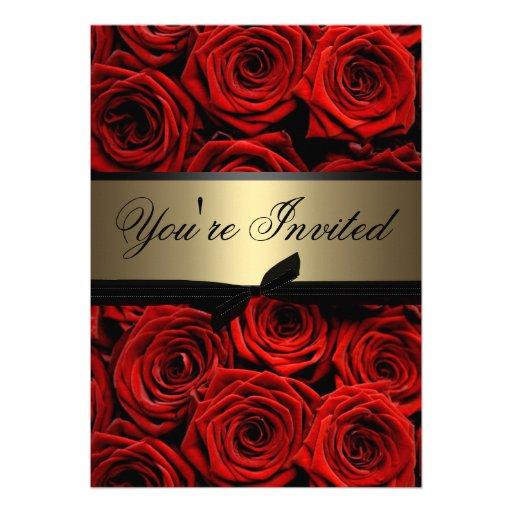 Personalized Black red gold wedding Invitations ...