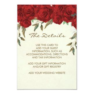 red roses wedding details information card