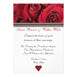Red Roses Wedding Invitation With Black Ribbon