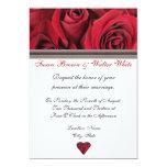 "Red Roses Wedding Invitation With Black Ribbon 5"" X 7"" Invitation Card"