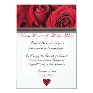 "Red Roses Wedding Invitation With Black Ribbon 5"" X 7"" Invitation Card"