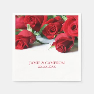 Red Roses Wedding Napkin Disposable Napkins
