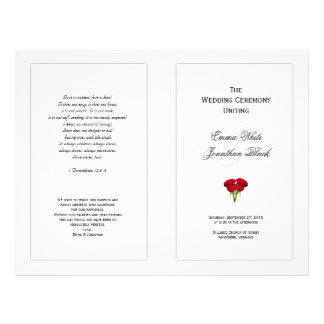 Red Roses Wedding Program Template