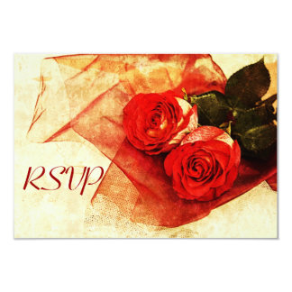 Red roses  wedding rsvp card