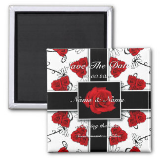 Red roses - wedding save the date announcement fridge magnets