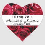 Red Roses Wedding Thank You Bride Groom Heart Stickers