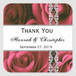 Red Roses Wedding Thank You Bride Groom Stickers