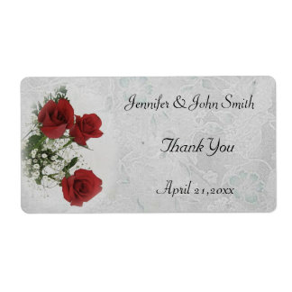 Red Roses Wedding Thank You Label