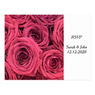 Red roses wedding theme RSVP card