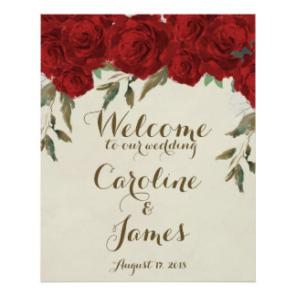 Red roses wedding welcome poster