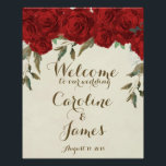 "Red roses wedding welcome reception sign poster<br><div class=""desc"">A beautiful red watercolour floral welcome poster with ivory background. Perfect for displaying at the entrance to your venue! Simply change the details (and font if required) to suit your own occasion. Can be customised for any occasion, bridal shower, party etc etc! Matching stationery also available. Some graphics used from...</div>"