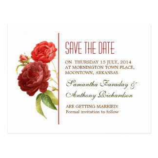 red roses white elegant save the date postcards