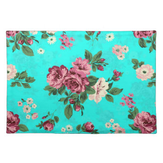 Red Roses & White Flowers On Blue-Green Background Placemat