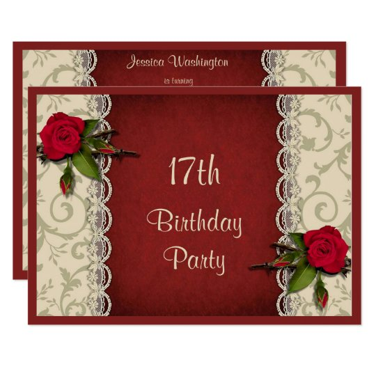 red roses white lace 17th birthday party invitation zazzle com