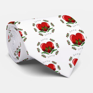Red Roses With Hearts Prom Tie