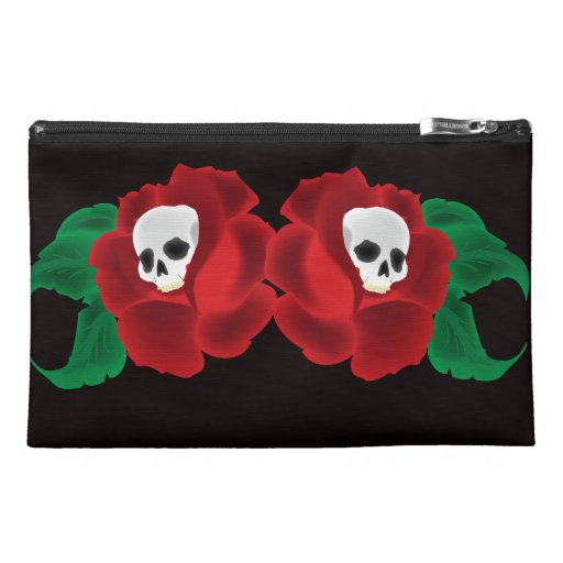 Red Roses with Skulls Tattoo Design Cosmetic Bag