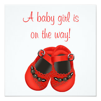 Red Rosettes Baby Shoes Red Baby Girl Shower Card