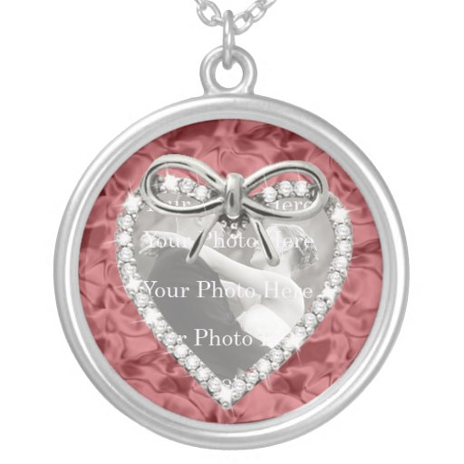 Red Round Diamond Heart Frame Necklace