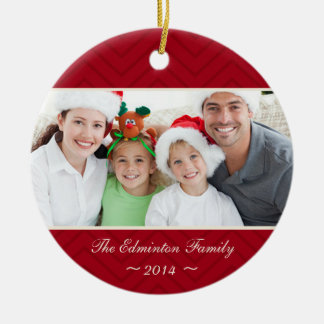 Red Round Family Custom Photo Christmas Ornament