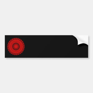 Red Round Lace Pattern Graphic Bumper Stickers