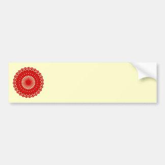 Red Round Lace Pattern Graphic Bumper Sticker