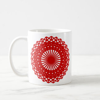 Red Round Lace Pattern Graphic. Coffee Mugs