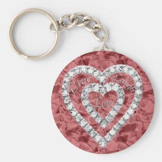 Red Round Live Laugh Love Diamond Heart Keychain