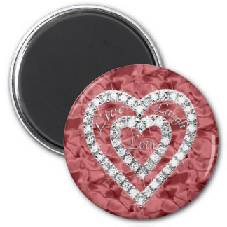 Red Round Live Laugh Love Diamond Heart Magnet