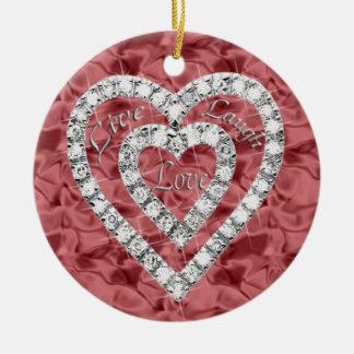 Red Round Live Laugh Love Diamond Heart Ornament