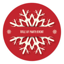 Red Round Modern Snowflake Christmas Party Card