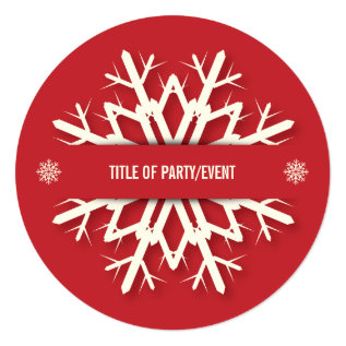 Red Round Modern Snowflake Christmas Party Card at Zazzle