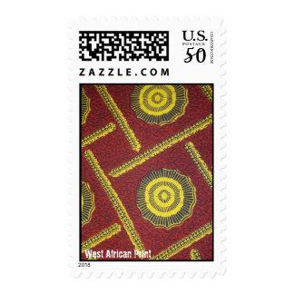 Red round swirl West AFrican Print ANkara  stamp