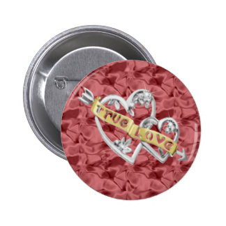 Red Round True Love Joined Hearts Button