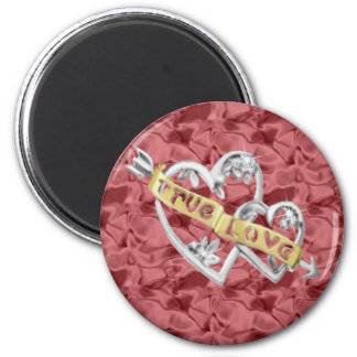 Red Round True Love Joined Hearts Magnet