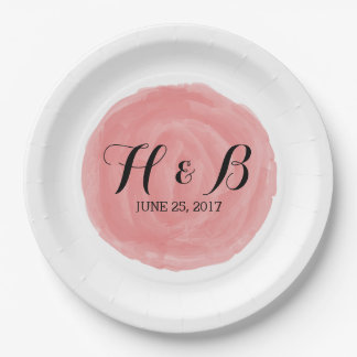 Red Round Watercolor Wedding Paper Plates 9 Inch Paper Plate