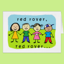 Red rover 50th birthday card