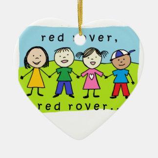 Red rover kids ceramic ornament