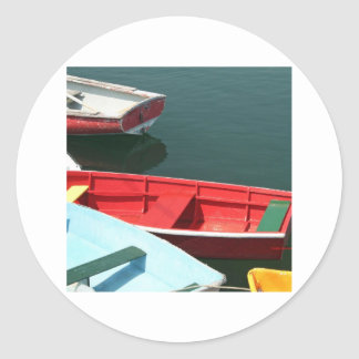 Red row boat classic round sticker